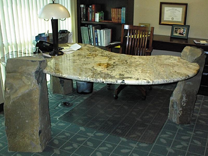 Basalt desk supports