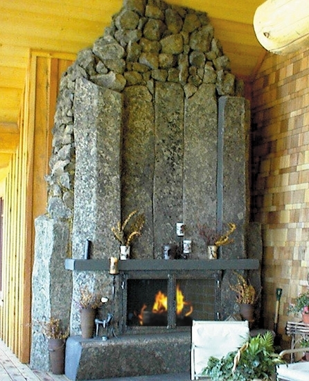 Basalt fire place