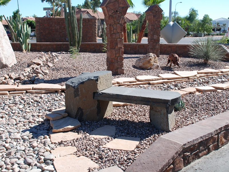 Basalt notch bench