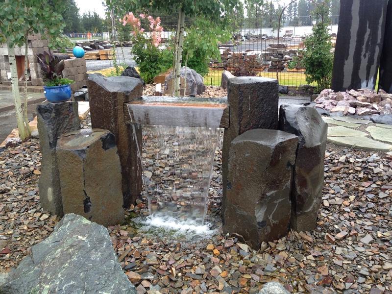 Custom basalt water feature