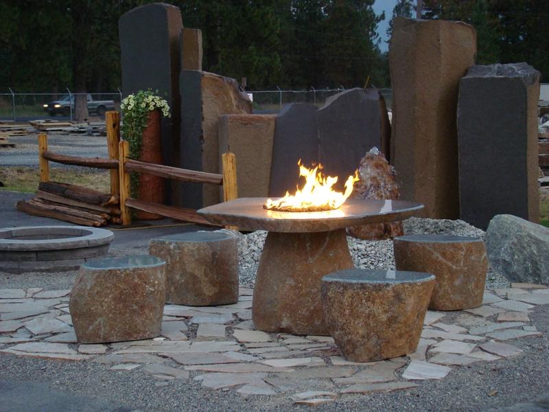Green granite fire table