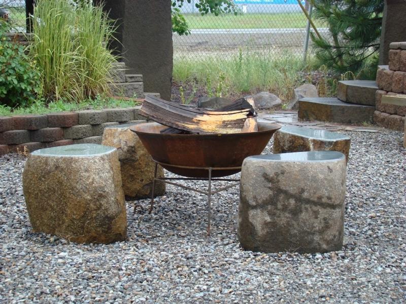 Green granite stools