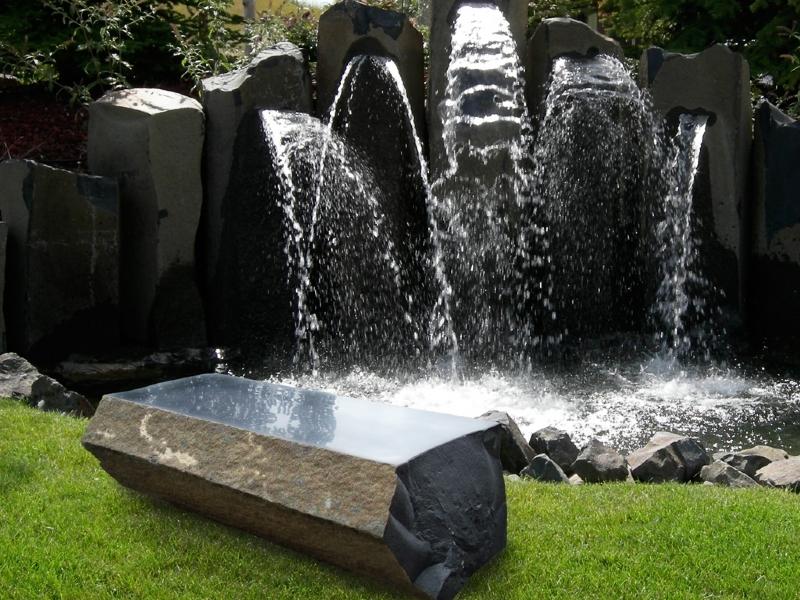 Polished basalt bench