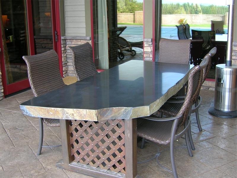Polished basalt table top