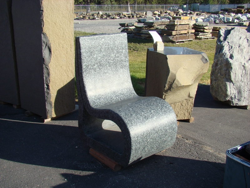 Polished granite chair