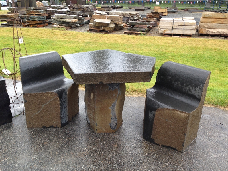 Basalt chess table with chairs