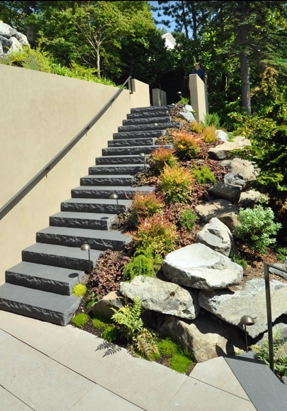 Basalt chiseled edge stairs