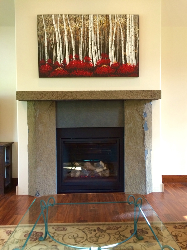 Basalt fire place surround