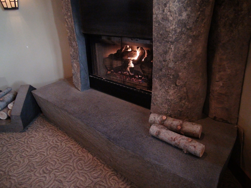 Basalt fireplace surround hearth
