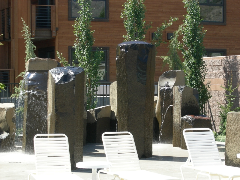 Basalt fountains at resort poolside 3