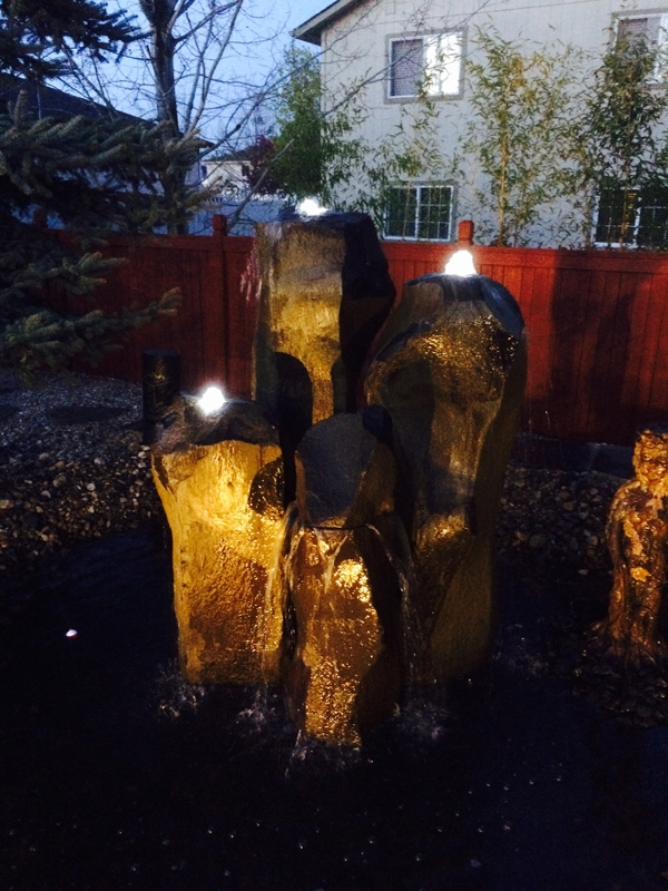 Basalt fountains with well lights