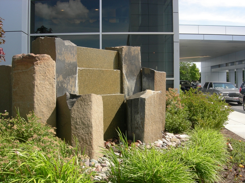 Basalt granite water feature