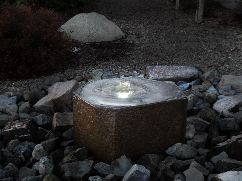 Basalt polished lighted fountain