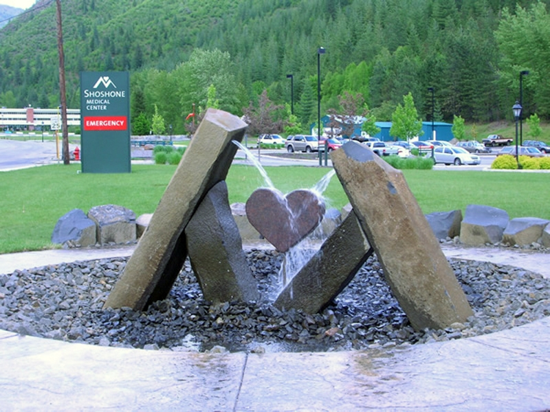 Basalt supports and heart sculpture