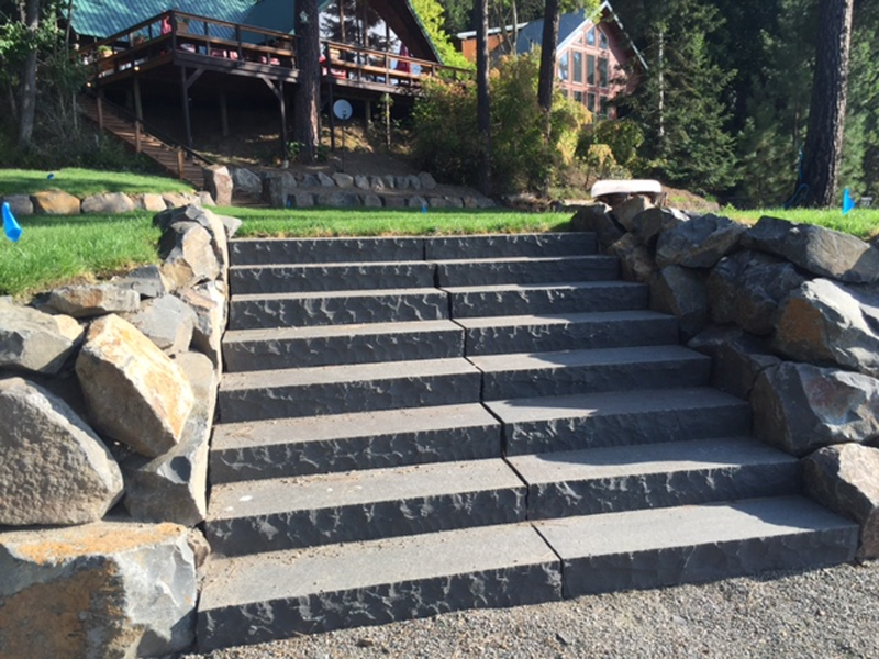 Chiseled edge basalt steps