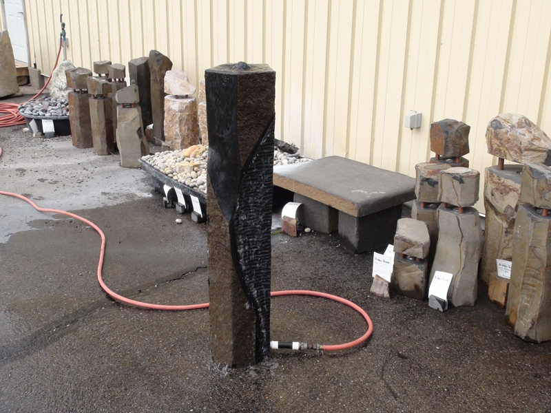 Custom basalt fountain