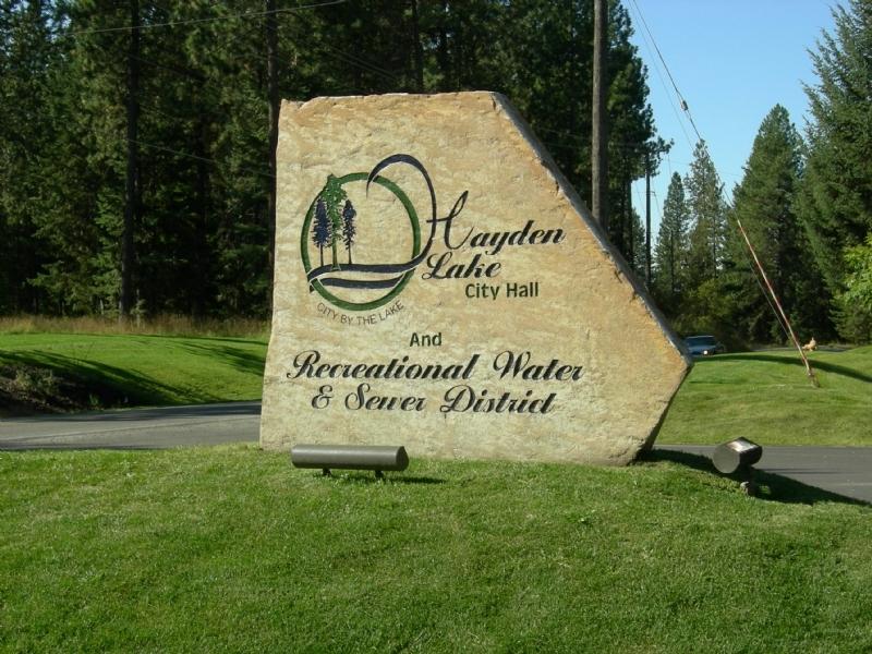 Hayden Lake City Hall sign