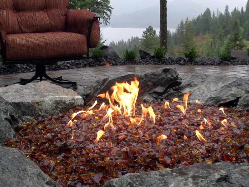 Fire outcrops close up