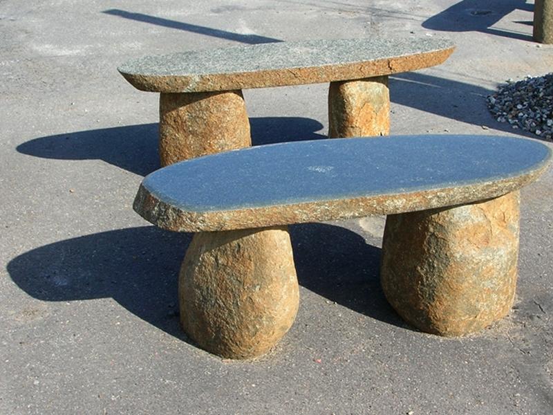 Green granite 3 piece bench