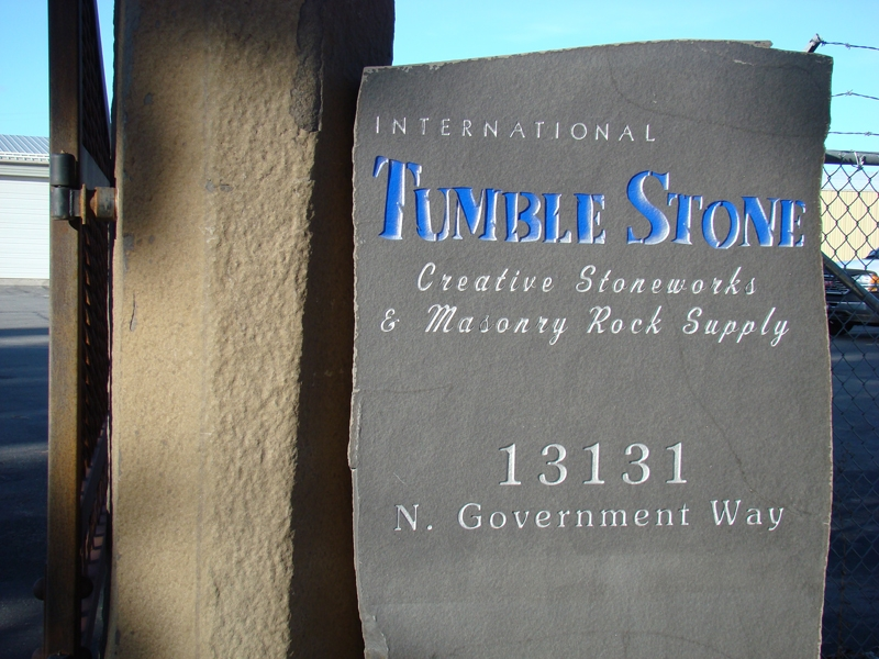 Tumble Stone sign