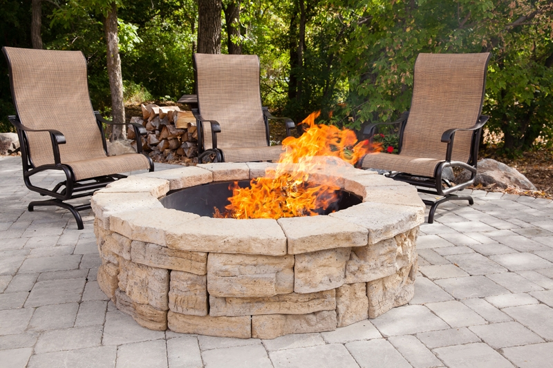 Western buff round fire pit kit