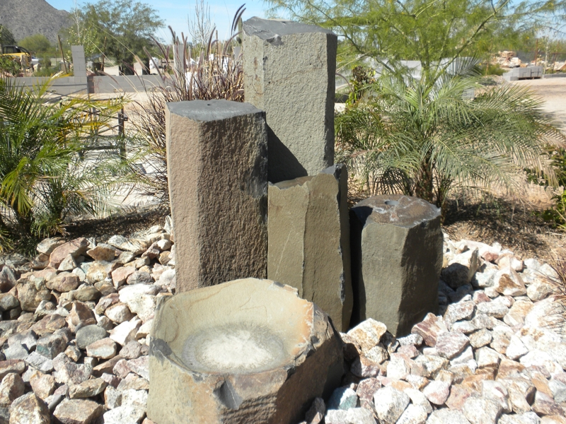 Basalt fountain with bowl